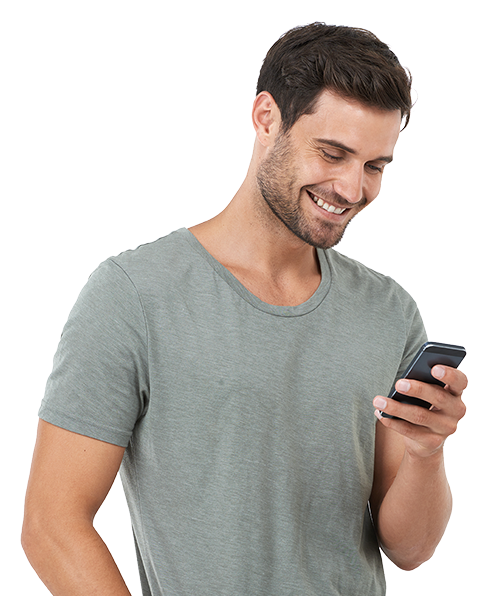 Man looking at something extremely amusing on his cellphone
