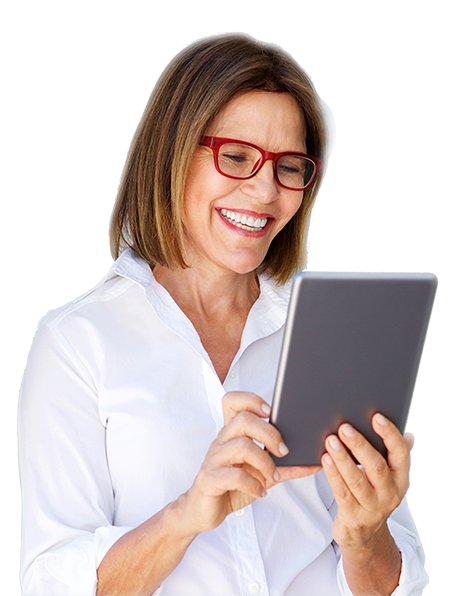 Woman extremely thrilled at something on her tablet.